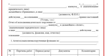Отчет агента по агентскому договору образец бланк