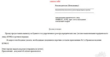 Запрос в налоговую инспекцию о предоставлении выписки из ЕГРЮЛ физическому лицу