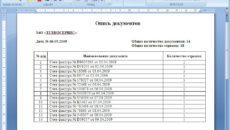 Опись передачи документов образец бланк